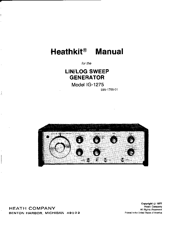 HEATHKIT IG-1275 3MHZ LIN-LOG SWEEP GENERATOR 1977 SM