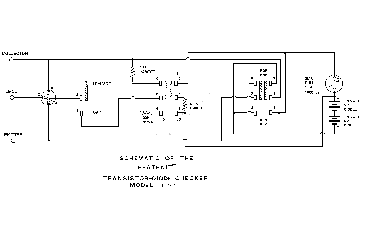 HEATHKIT IT27 TRANSISTOR CHECKER SCH Service Manual