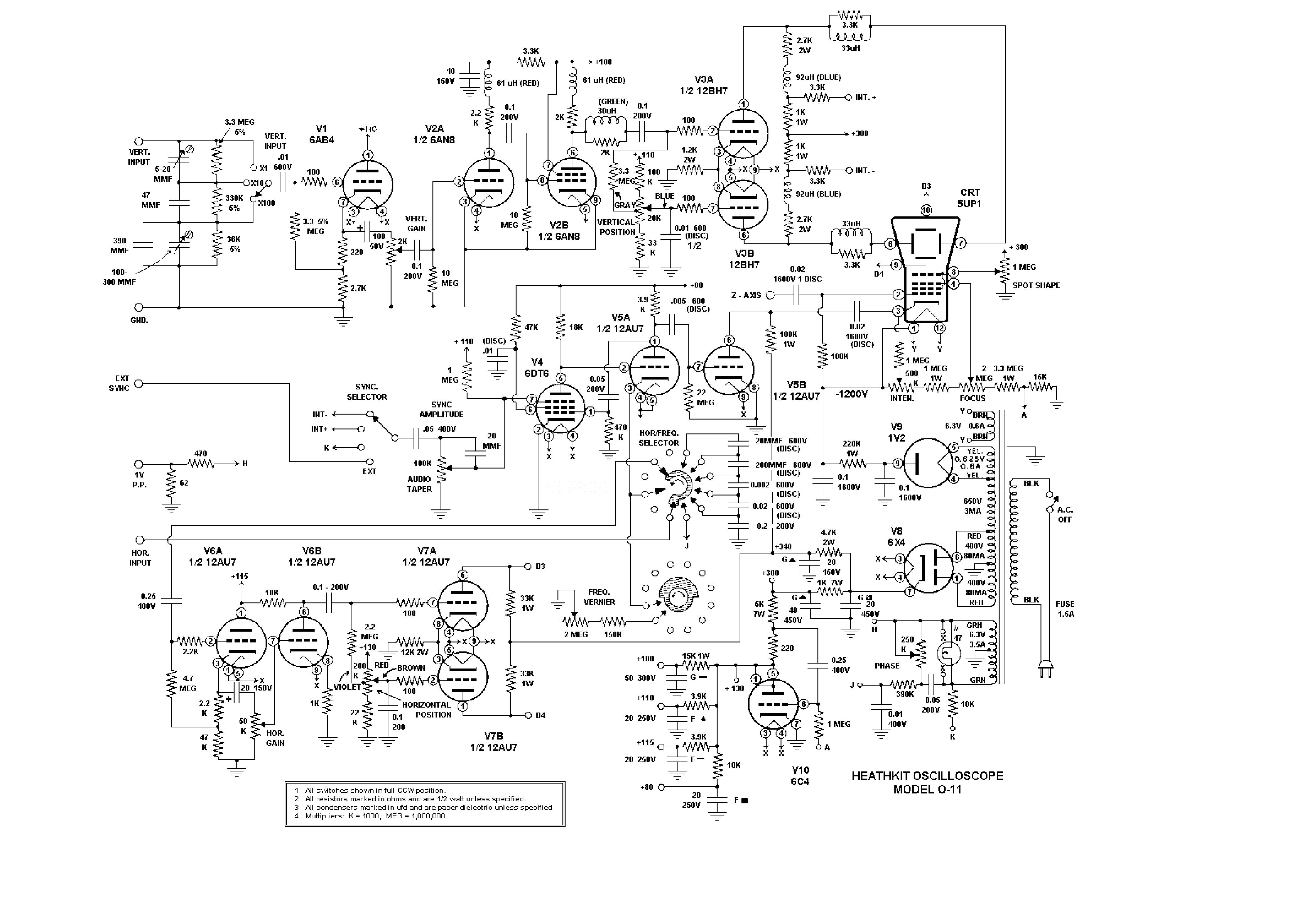 Heathkit O11 Oscilloscope Sch Service Manual Download