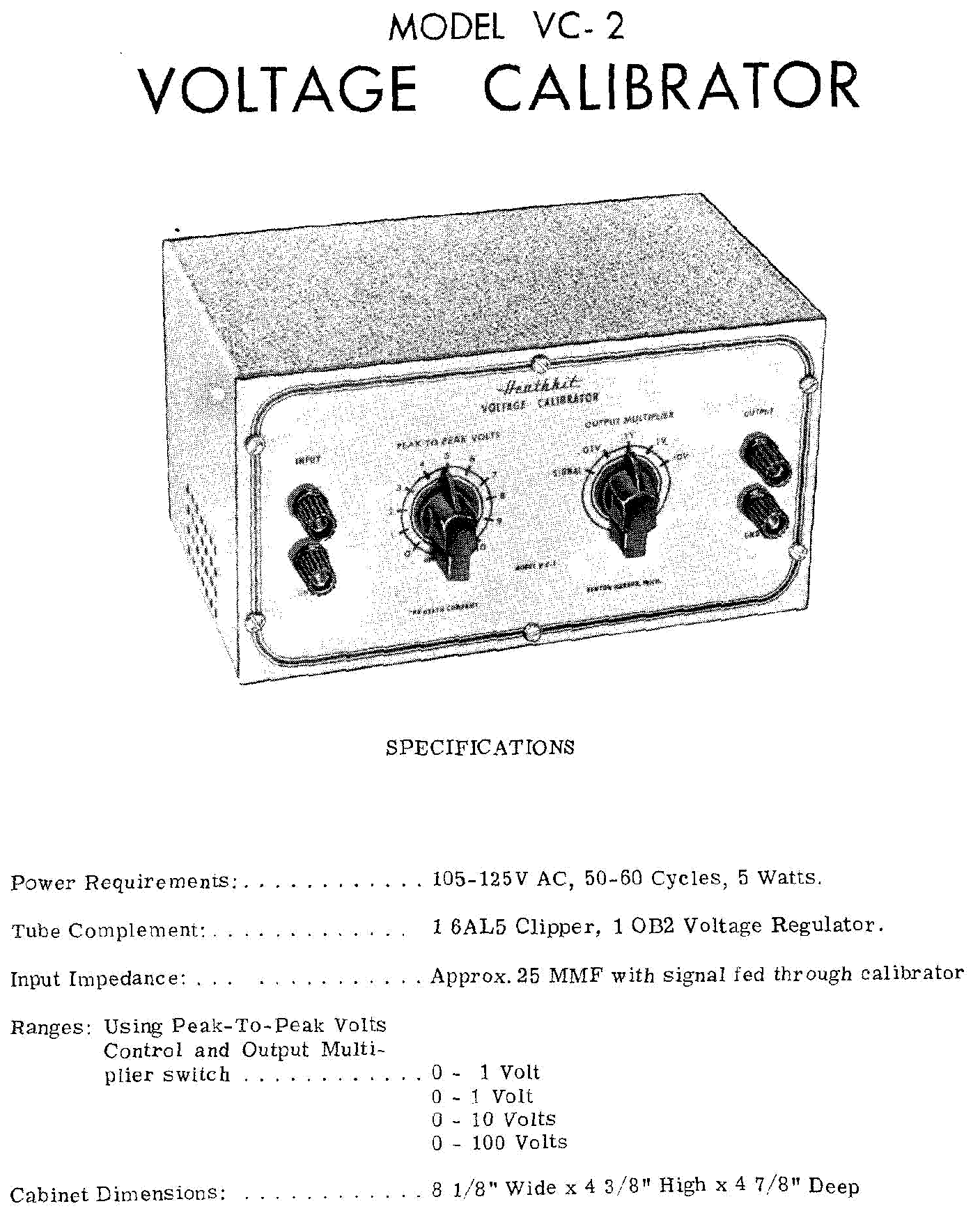 HEATHKIT VC-2 VOLTAGE CALIBRATOR SM Service Manual
