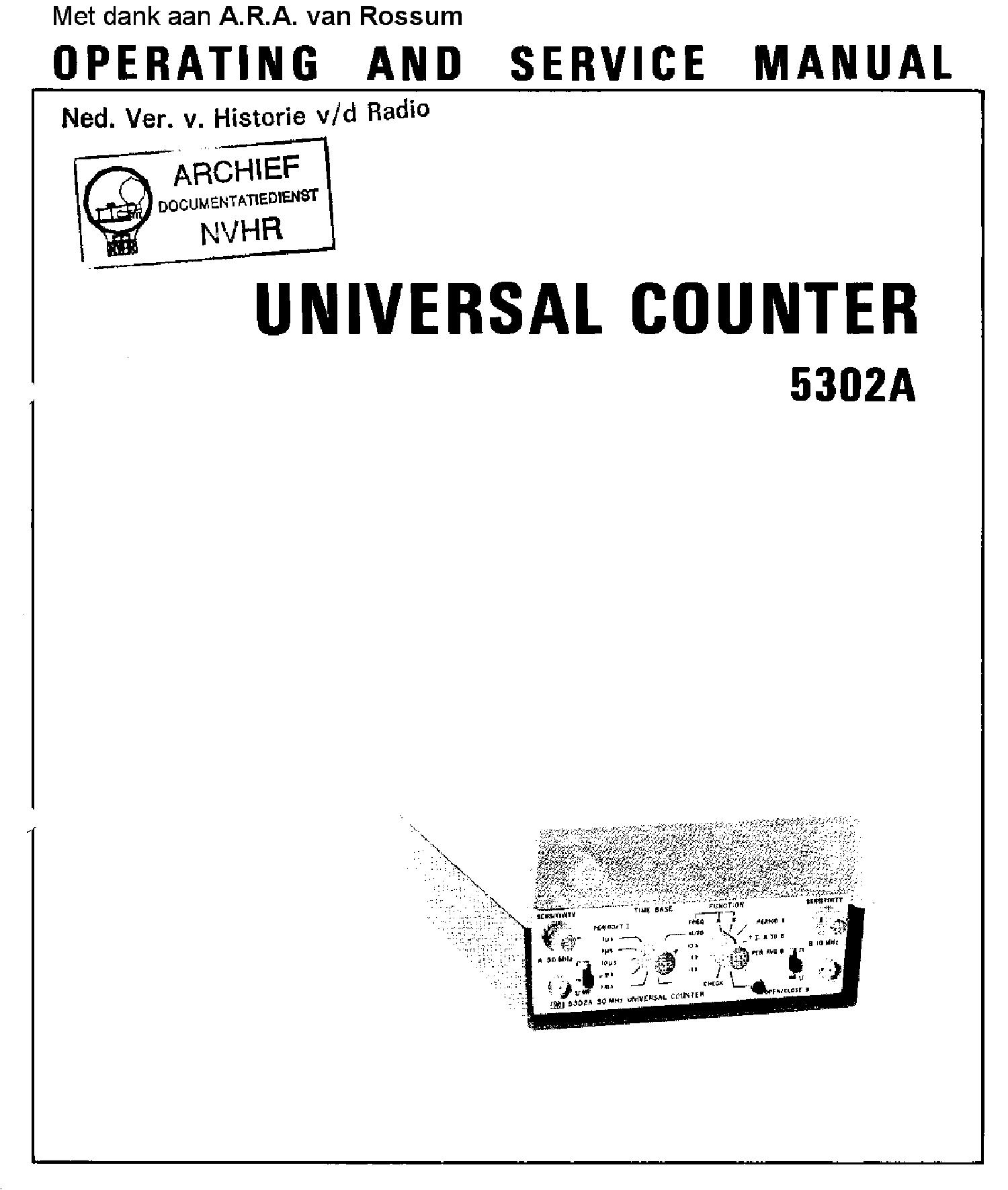 HEWLETTPACKARD 5302A 50MHZ UNIVERSAL COUNTER 1975 SM