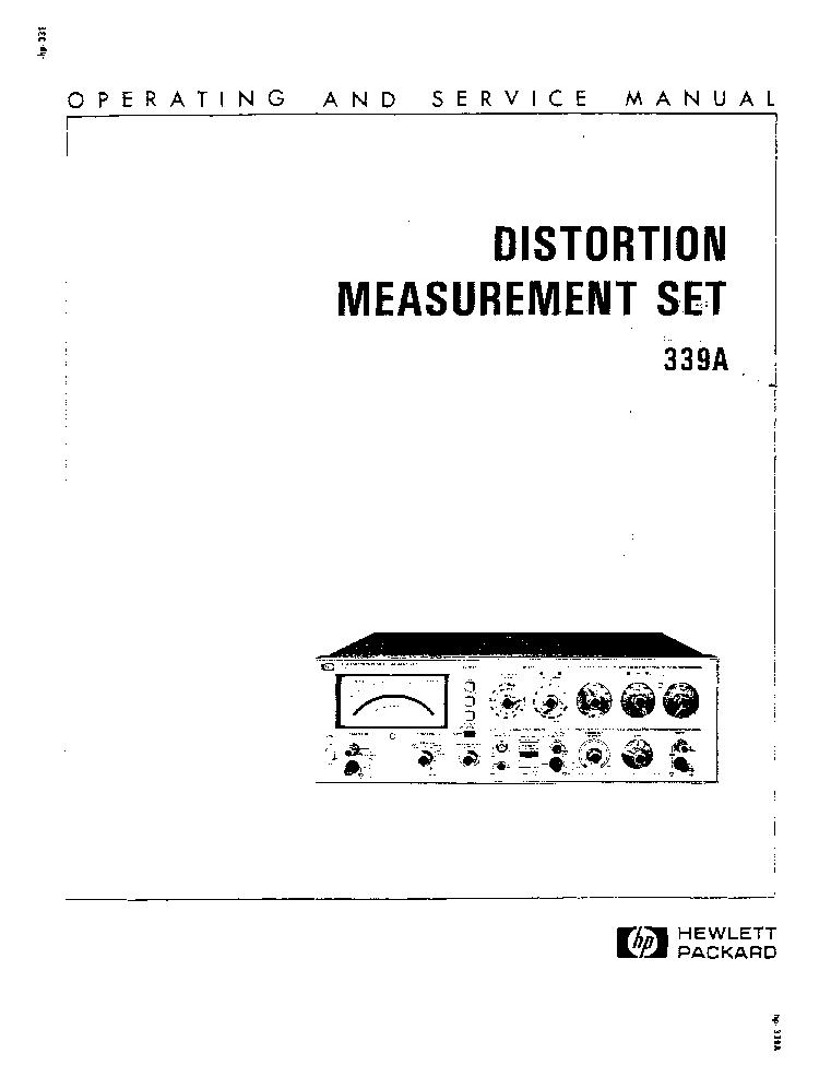HP-339A DISTORTION MEASUREMENT SET-OP-SM Service Manual