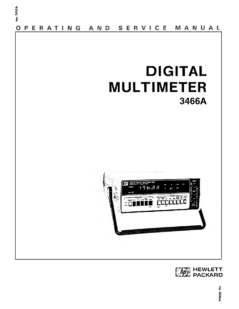 HP-3466A DIGITAL MULTIMETER OPERATING AND SERVICE MANUAL