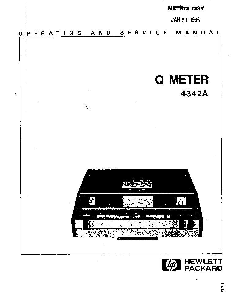 HP-4342A Q-METER-OP-SM Service Manual download, schematics