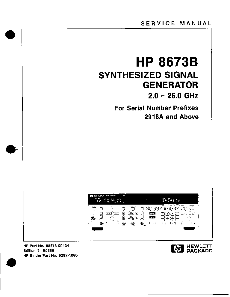 HP-8673B SYNTHESIZED SIGNAL GENERATOR 2-26GHZ SM Service