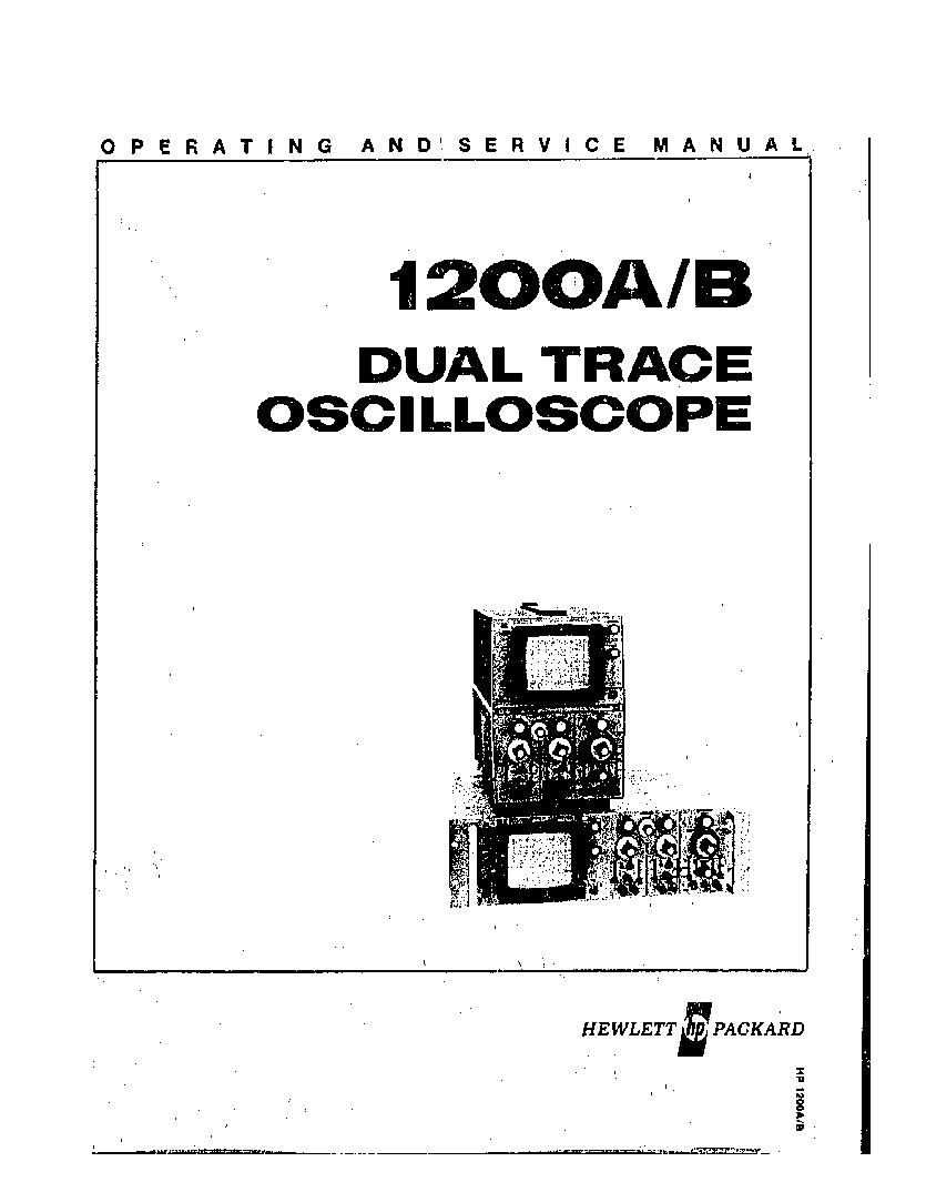 HP 1200A 1200B DUAL-TRACE OSCILLOSCOPE SM Service Manual