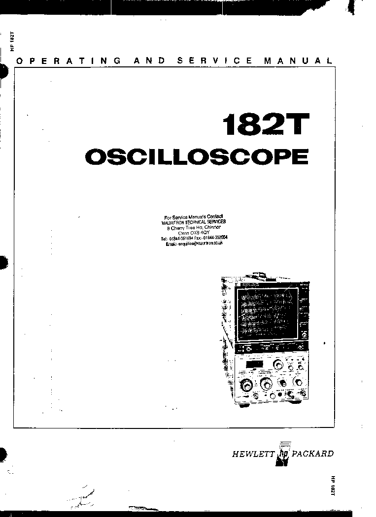 HP 182T OSCILLOSCOPE SM Service Manual download