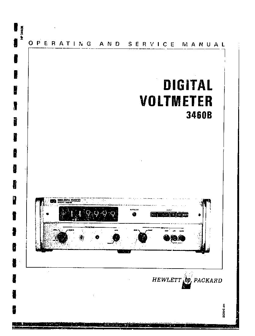HP 3460B EARLY 6-DIGIT DIGITAL VOLTMETER 1969 SM Service