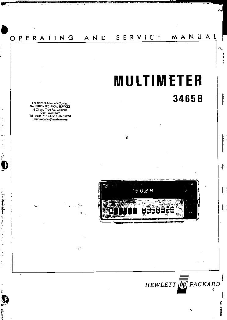 HP 3465B DMM SM Service Manual download, schematics