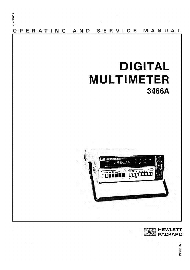 HP 3466A DIGITAL MULTIMETER Service Manual download