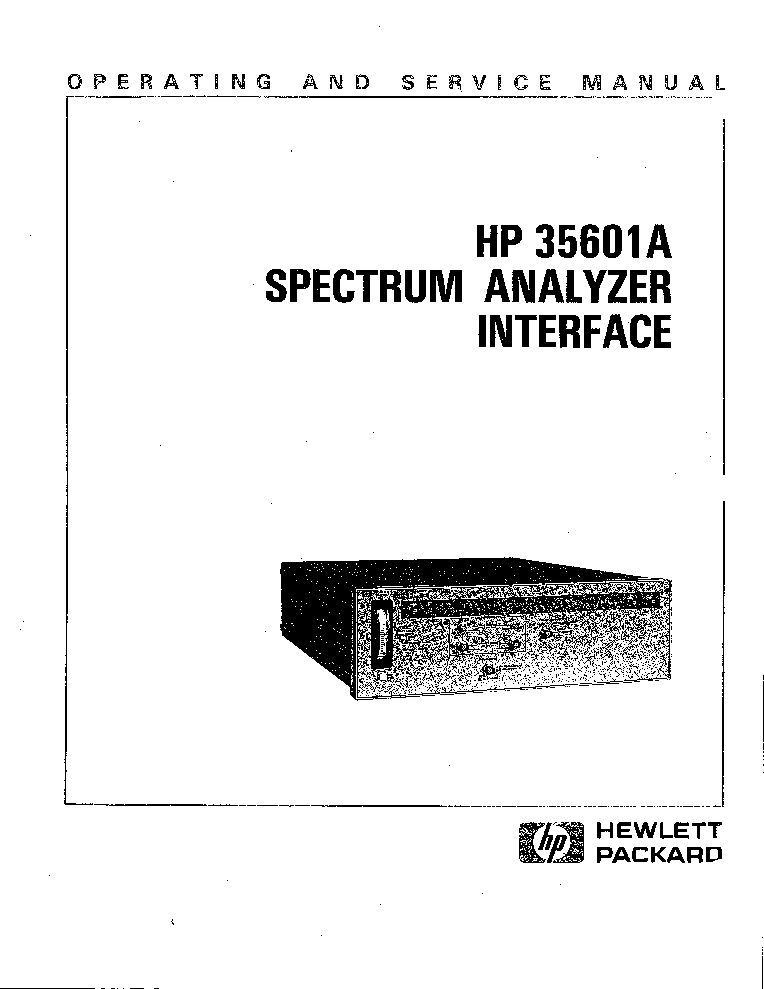 HP 35601A Service Manual download, schematics, eeprom