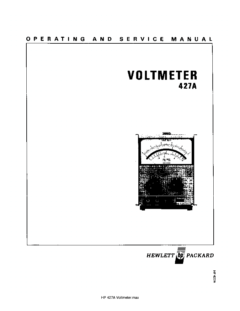 HP 427A VOLTMETER SM Service Manual download, schematics