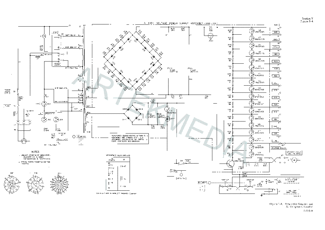 HP 5551A 0-1530V 5MA HV POWER SUPPLY SCH Service Manual