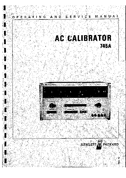 HP 745A AC CALIBRATOR Service Manual download, schematics