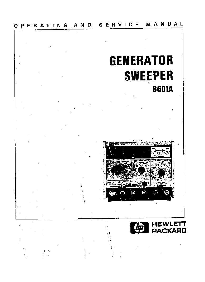 HP 8601A GENERATOR SWEEPER SM Service Manual download