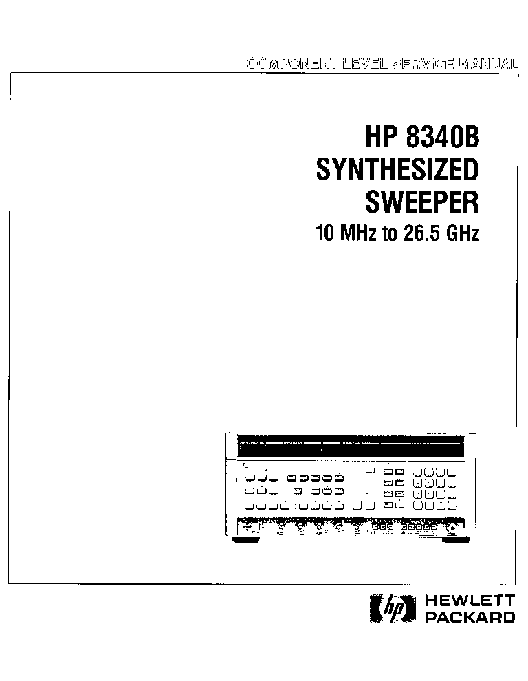 HP AGILENT-TECHNOLOGIES 8340B SYNTHESIZED SWEEPER Service