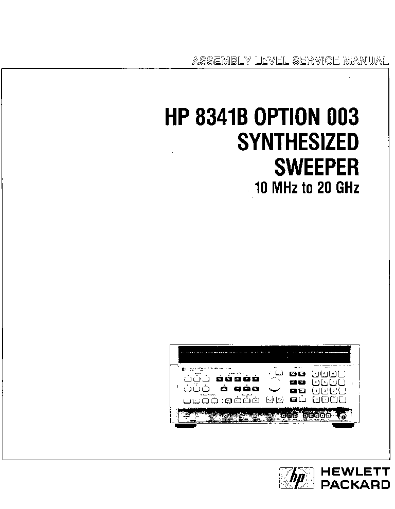 HP AGILENT-TECHNOLOGIES 8341B SYNTHESIZED SWEEPER VOL3