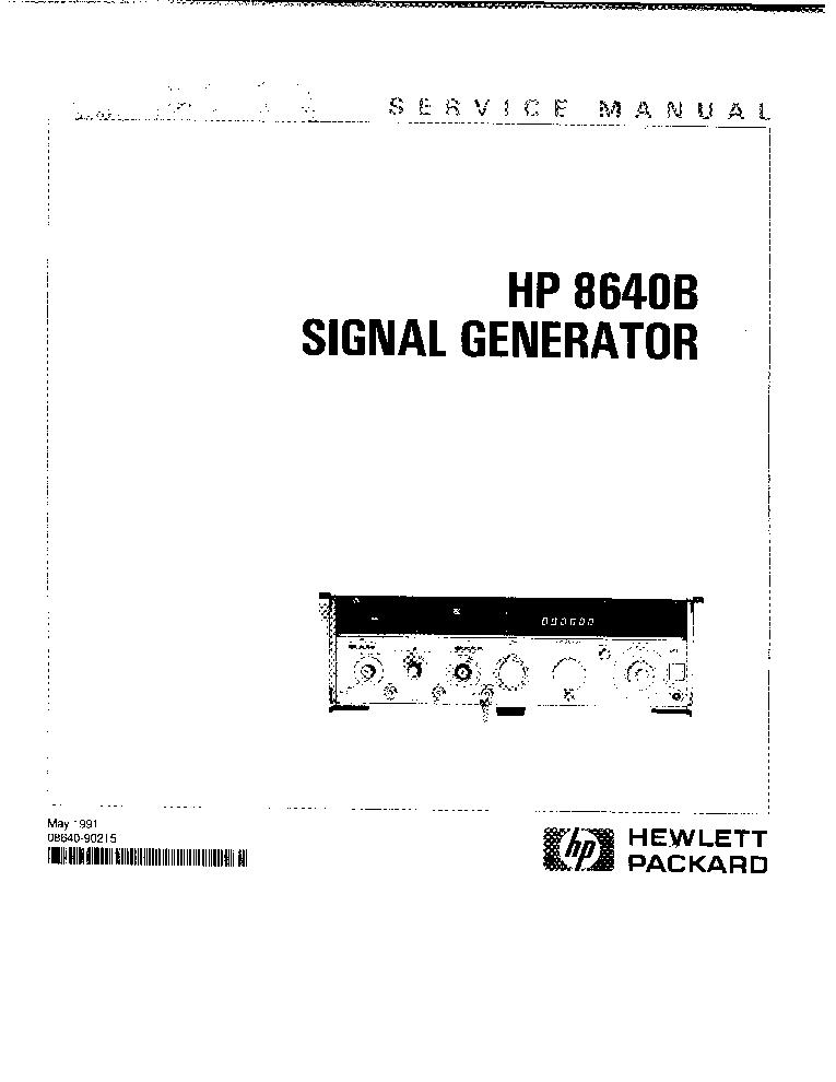 HP AGILENT-TECHNOLOGIES 8640B SIGNAL GENERATOR Service