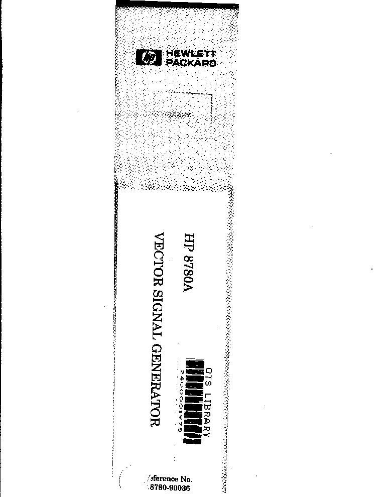 HP AGILENT-TECHNOLOGIES 8780A SIGNAL GENERATOR Service