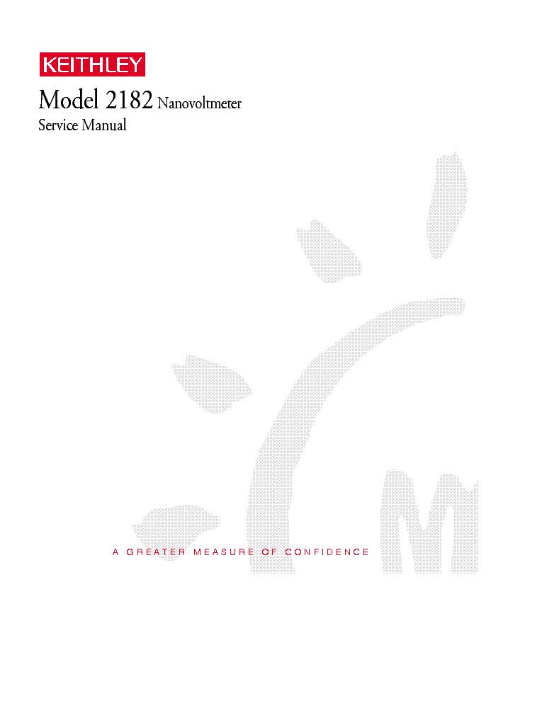 KEITHLEY MODEL-2182 NANOVOLTMETER SM Service Manual