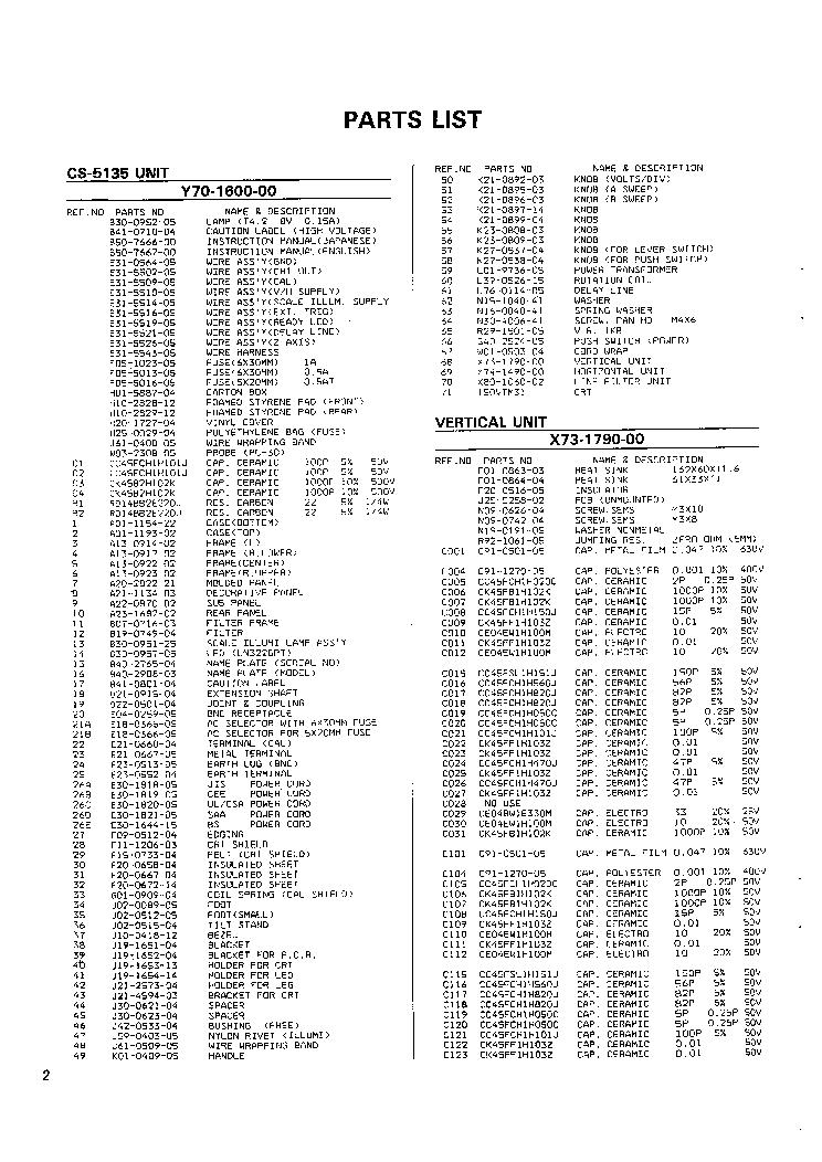 KENWOOD TRIO CS-5135 40MHZ OSCILLOSCOPE Service Manual