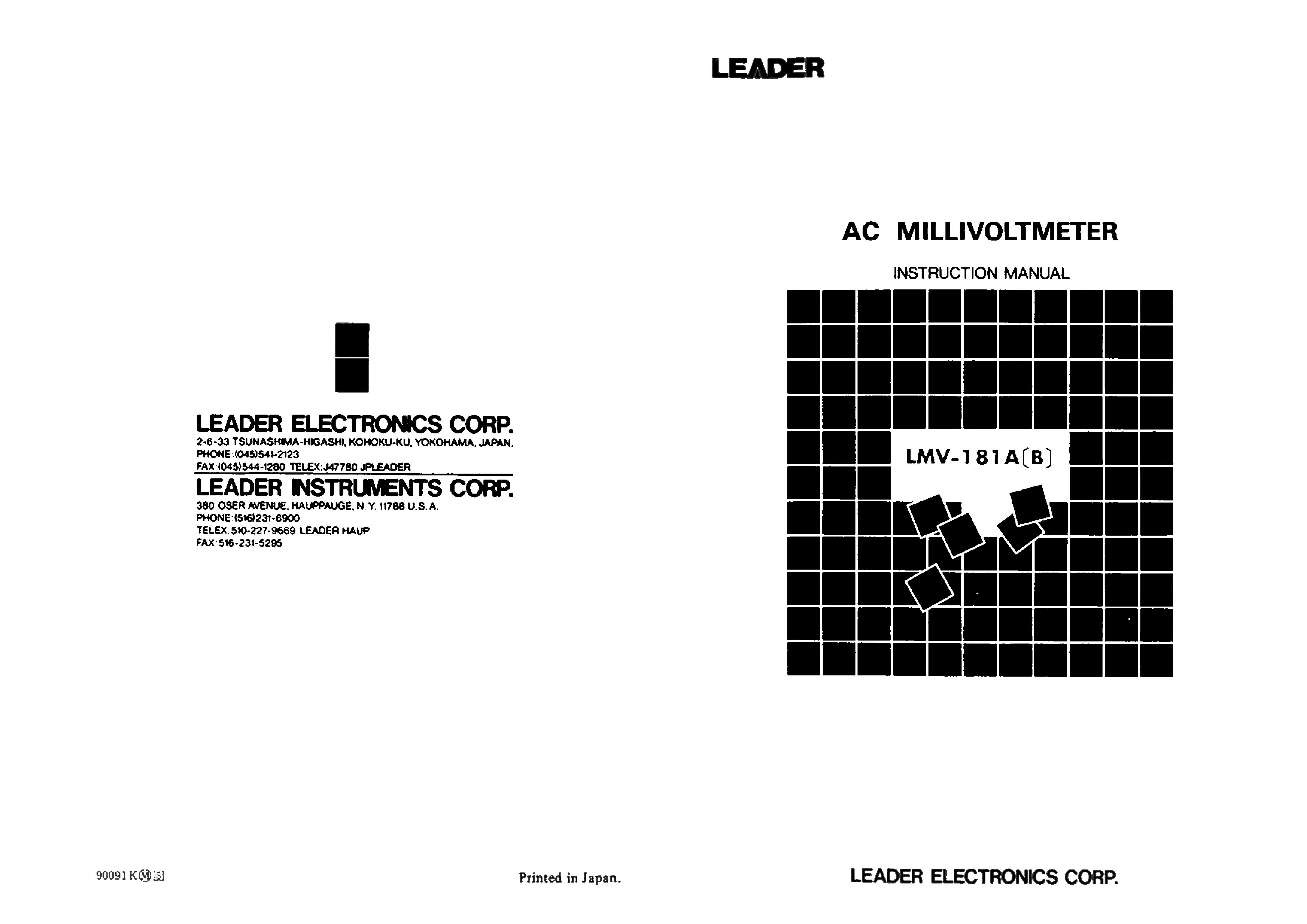 LEADER LAG-125 AUDIO-GENERATOR INSTRUCTION SCH Service