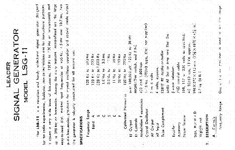 Leader signal generator lsg 11 manual