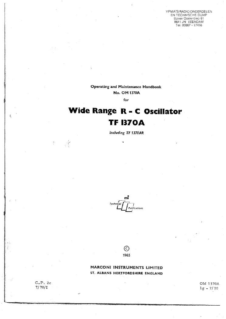 MARCONI TF2016A SIGNAL GENERATOR PSU SCH Service Manual