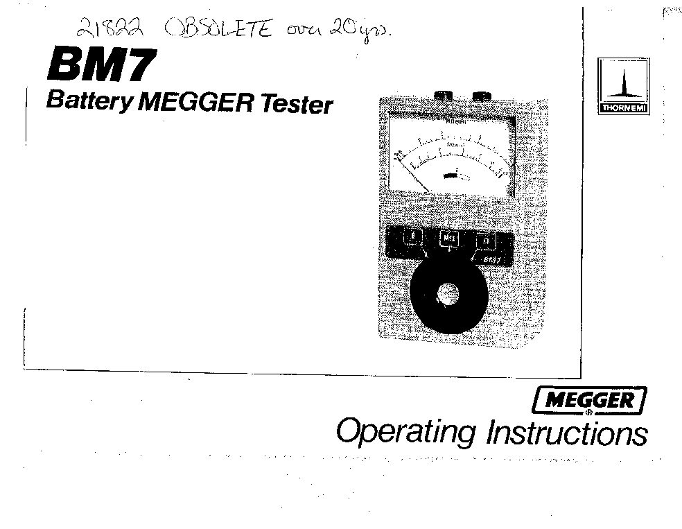 MEGGER BM7 21822 INSULATION TESTER INSTRUCTION MANUAL
