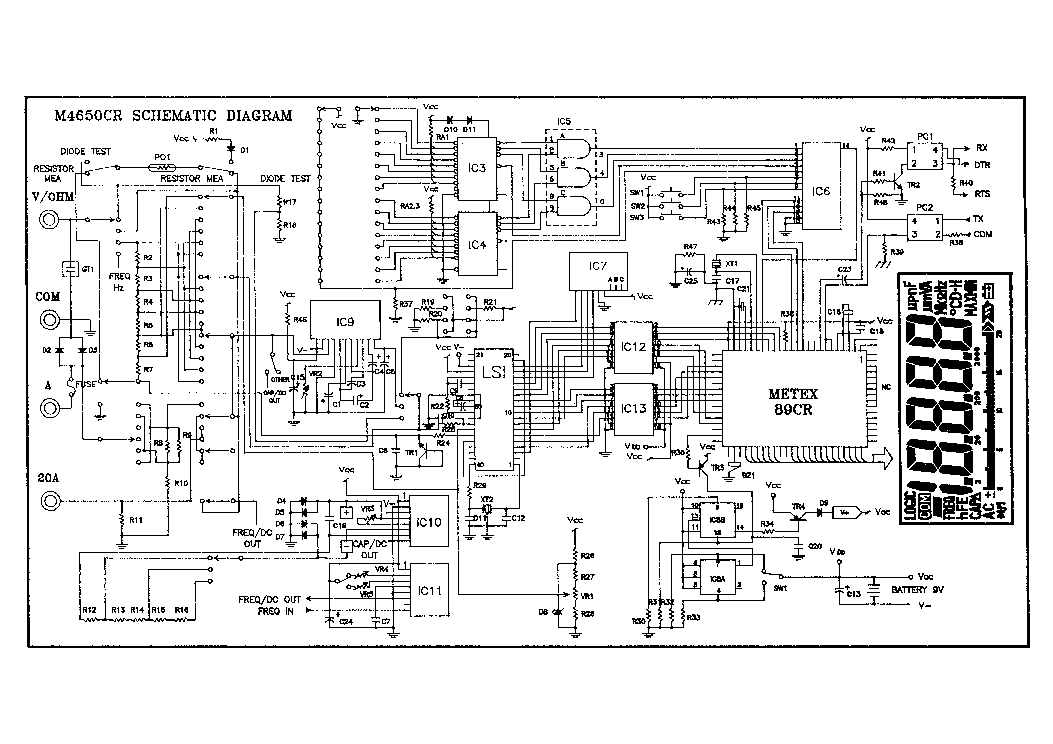 METEX M4650 CR Service Manual download, schematics, eeprom