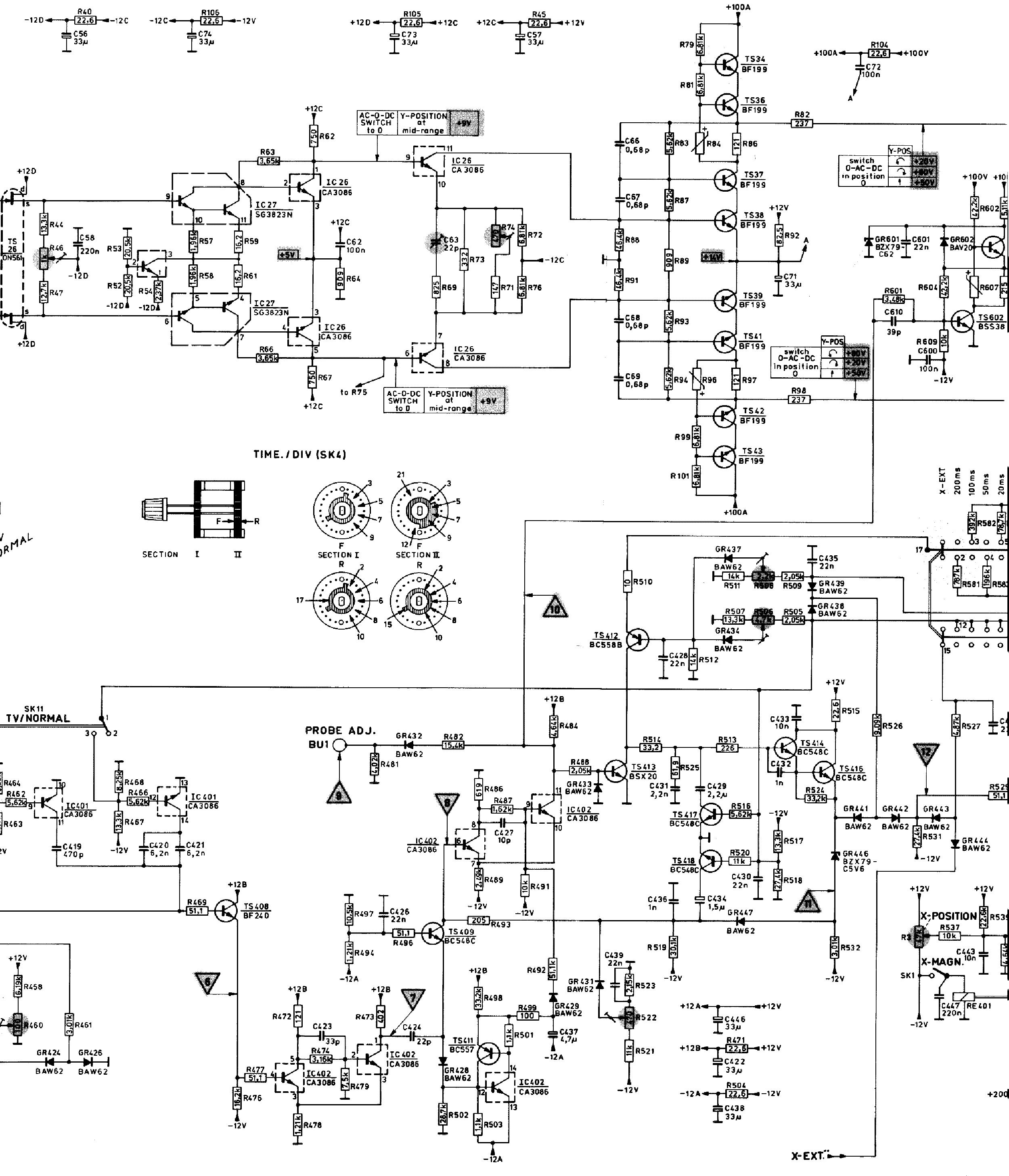 PHILIPS PM-3225 2MV 15MHZ OSCILLOSCOPE 1977 SCH Service