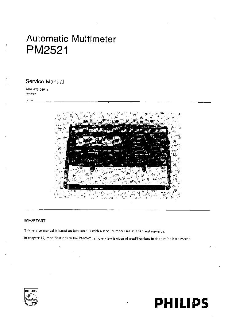PHILIPS PM2521 SM Service Manual download, schematics
