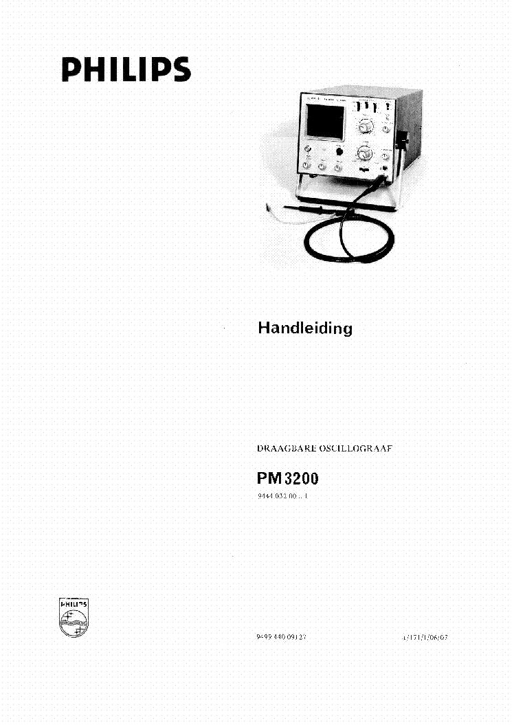 PHILIPS PM3200 2MV,10MHZ PORTABLE OSCILLOSCOPE 1971 SM