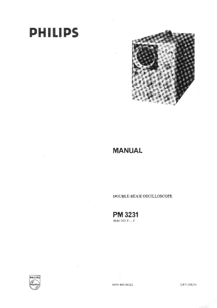 PHILIPS PM3231 OSCILLOSCOPE Service Manual download