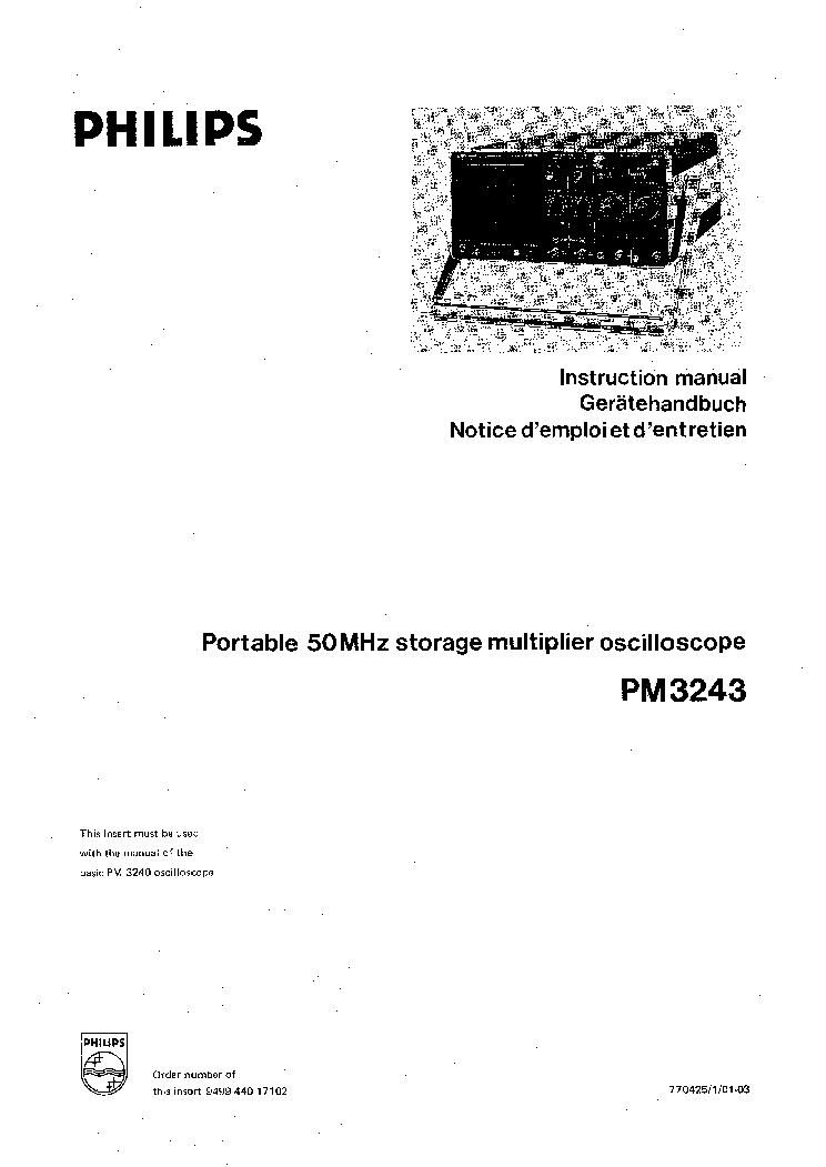 PHILIPS PE-4807,0-35V,10A LABORTAP 1977 SM Service Manual