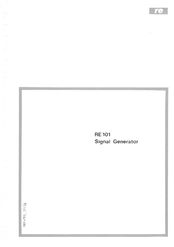 RADIOMETER RE101 SIGNAL GENERATOR INSTRUCTION MANUAL