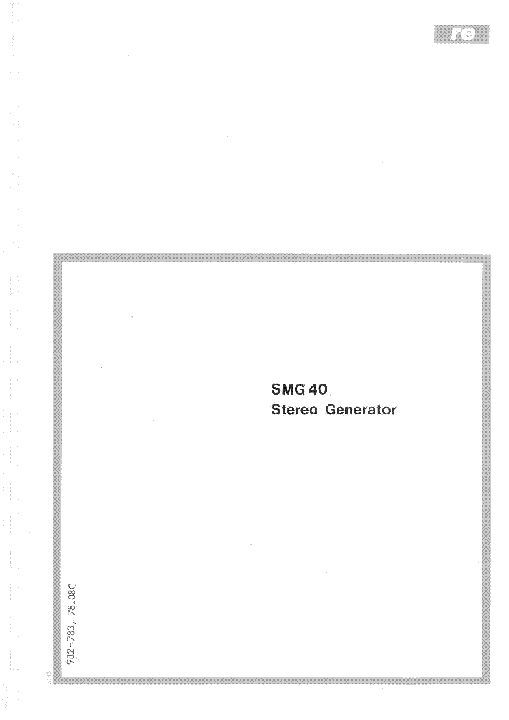 RADIOMETER SMG40 STEREO GENERATOR Service Manual download
