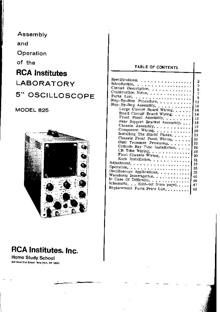 RCA INSITUTES 825 HEATH SCOPE0001 70MVPP-INCH 4MHZ