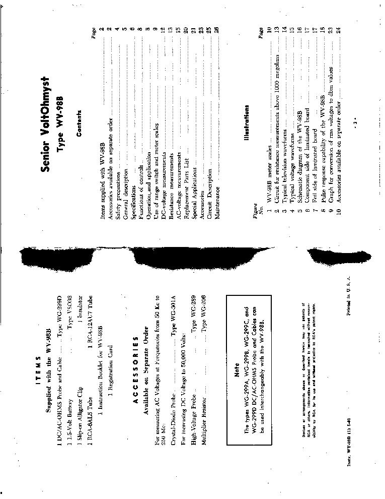 RCA MODEL WV-98B SENIOR VOLTOHMYST Service Manual download