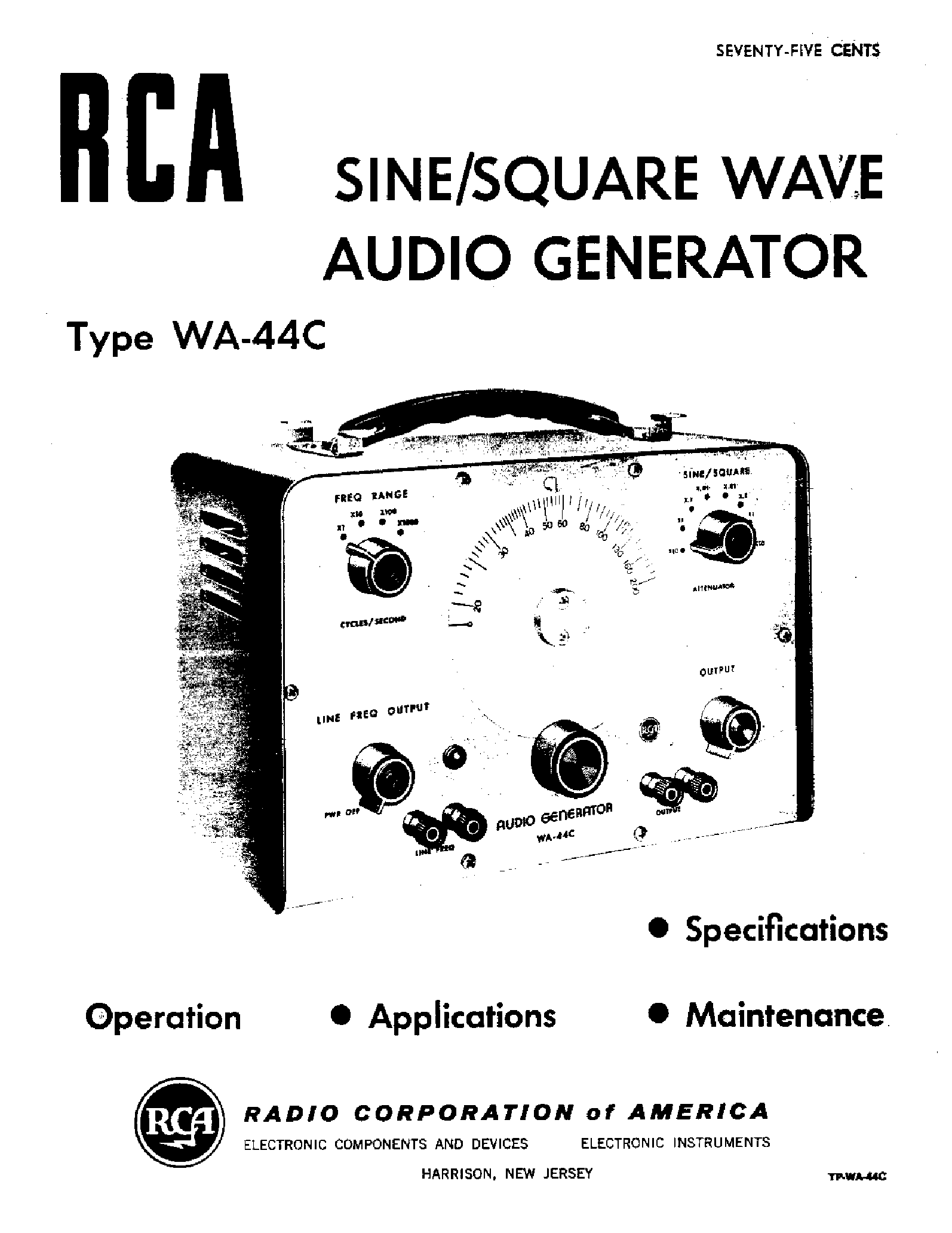 RCA WA44C AUDIO GENERATOR Service Manual download
