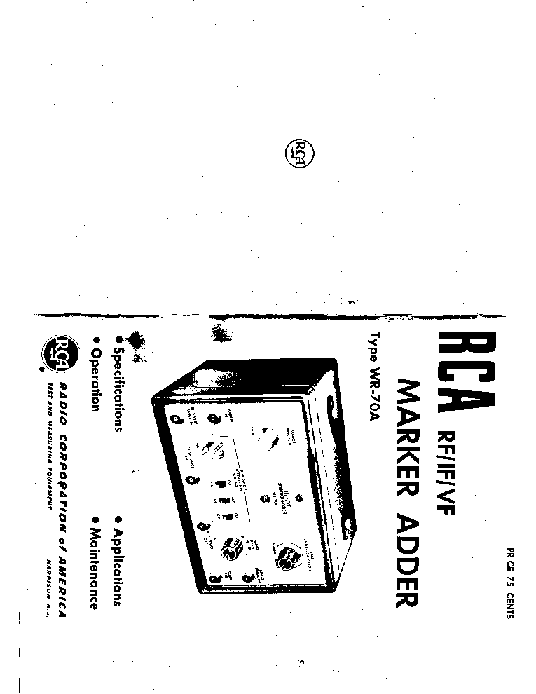RCA WR-70A MARKER ADDER Service Manual download