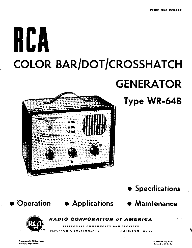 RCA WT-501A TRANSISTOR TESTER Service Manual download