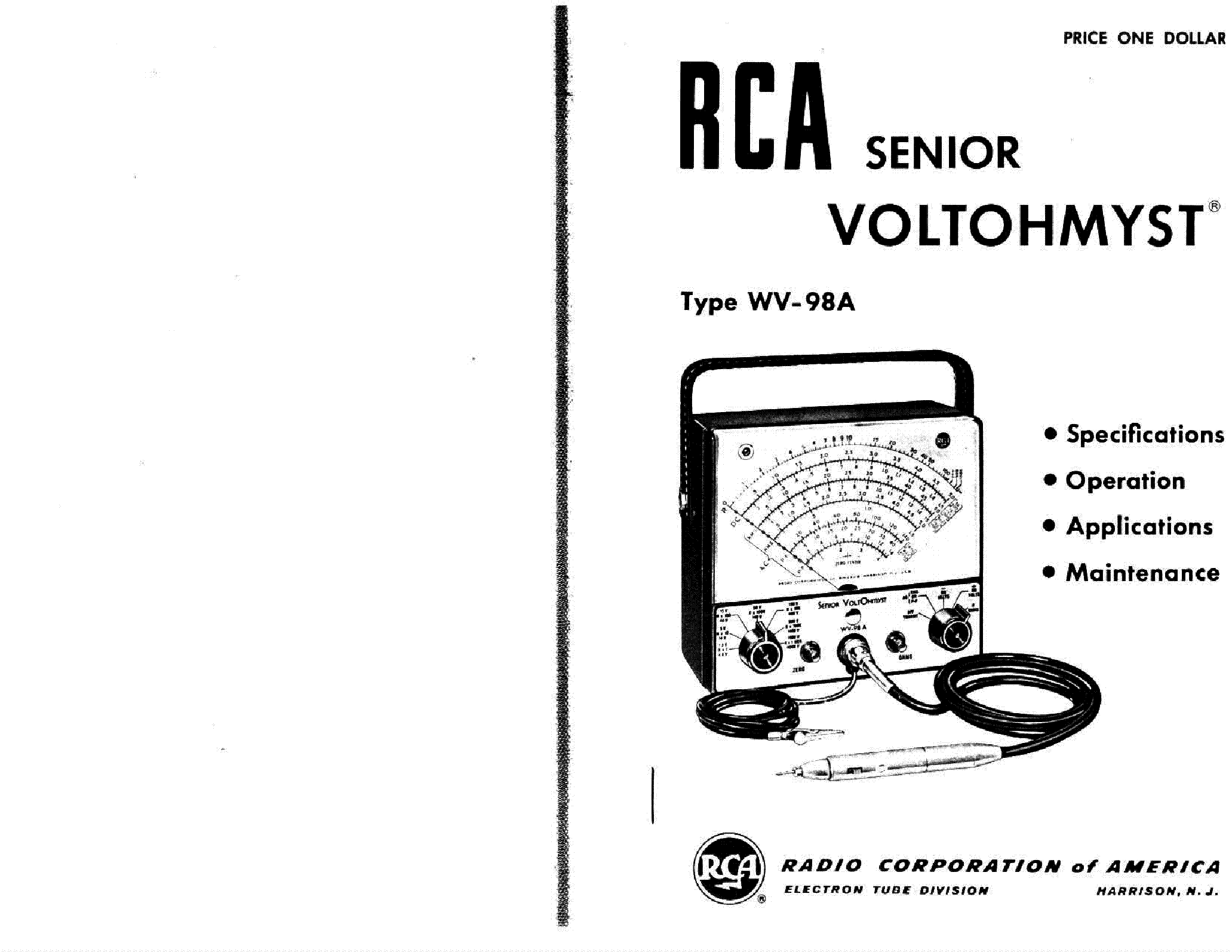 RCA WV-98A SENIOR VOLTOHMYST SM Service Manual download