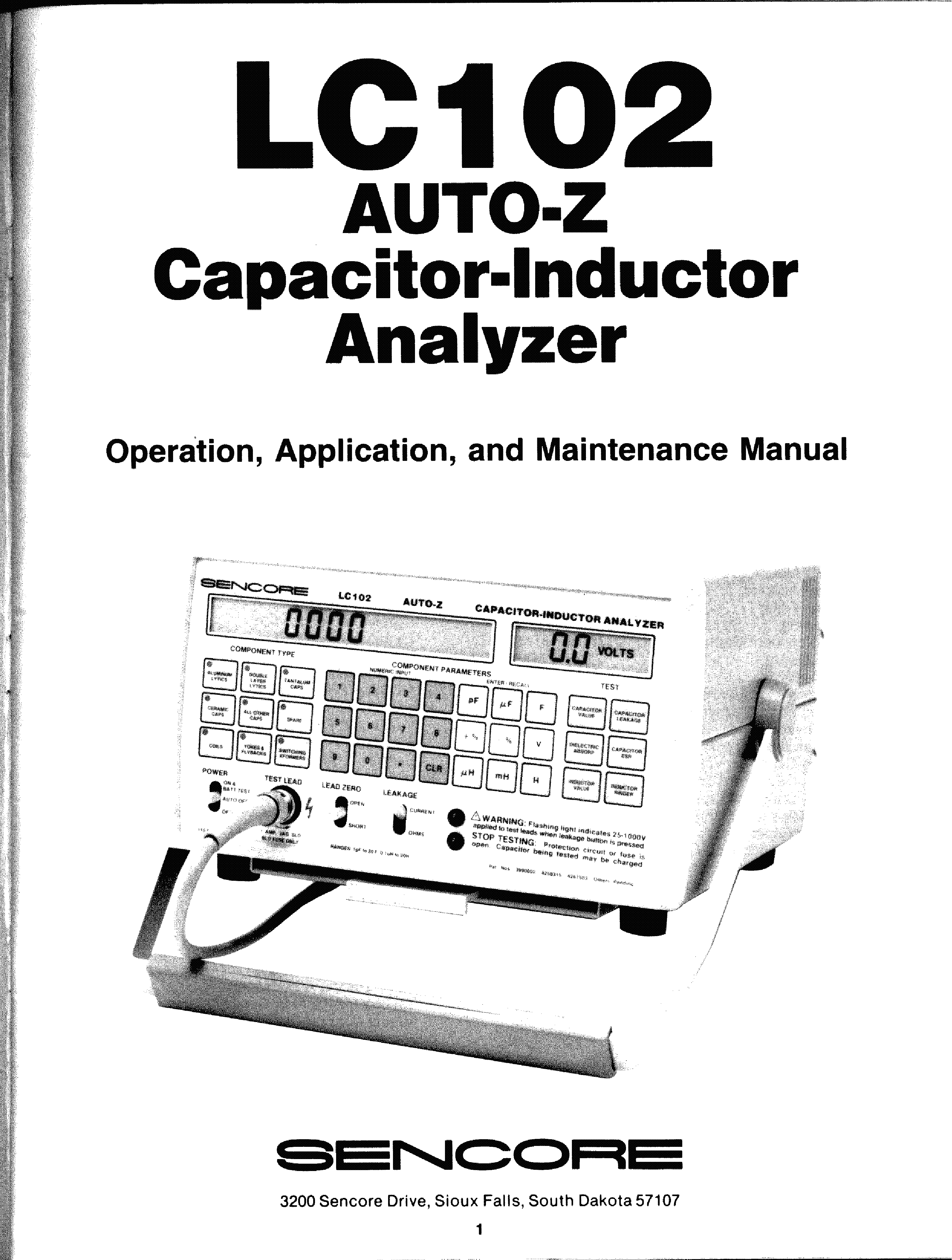 SENCORE LC102 AUTO-Z CAPACITOR-INDUCTOR ANALYZER Service