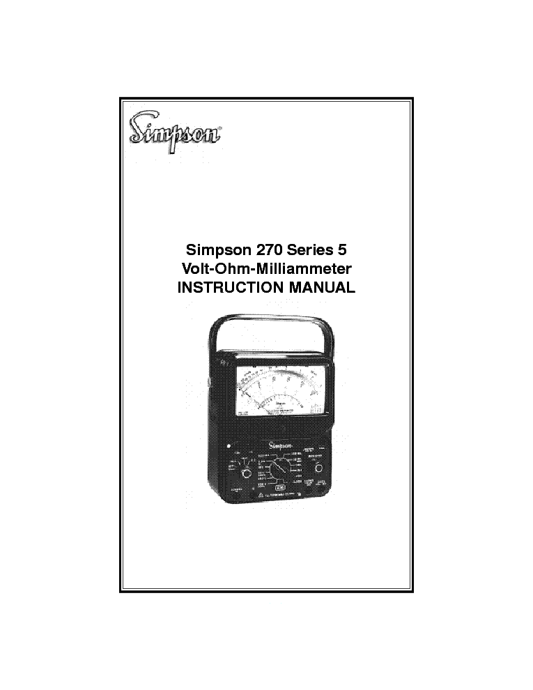 SIMPSON 270-5 VOLT-OHM-MILLIAMMETER Service Manual