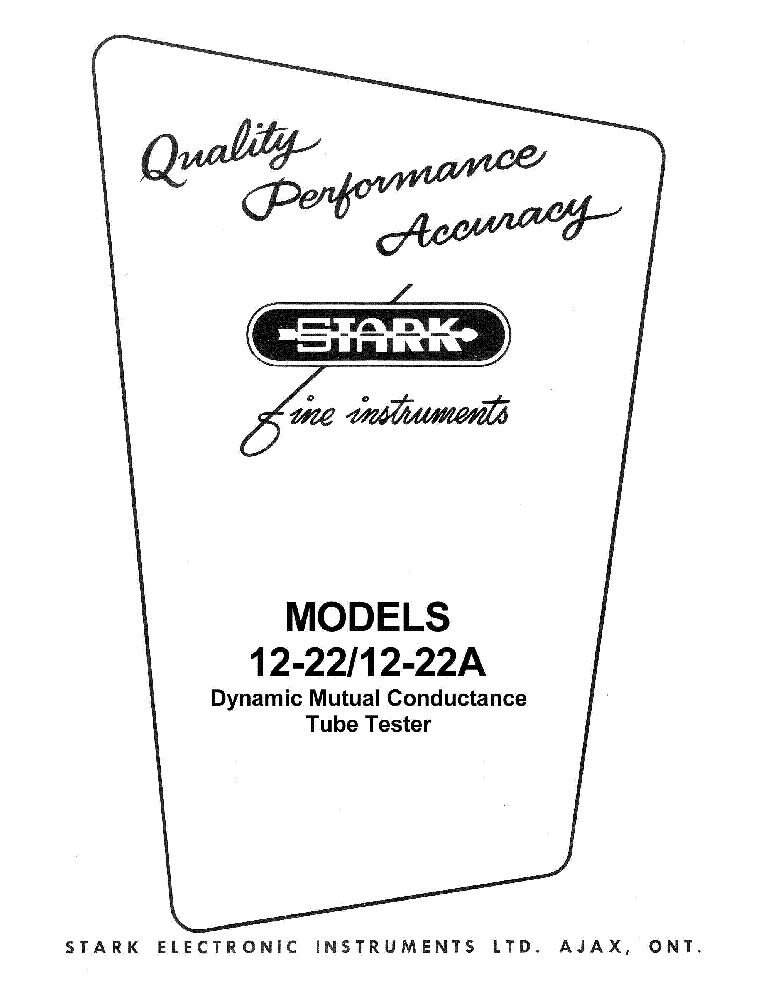 STARK 12-22 TUBE TESTER Service Manual download