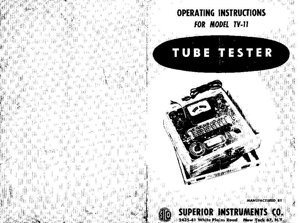 SUPERIOR TV11 TUBE TESTER SM Service Manual download
