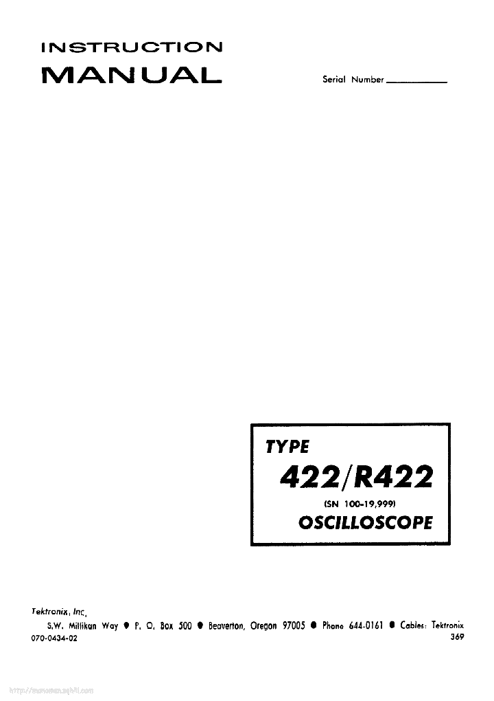 TEKTRONIX 422 R422 Service Manual download, schematics