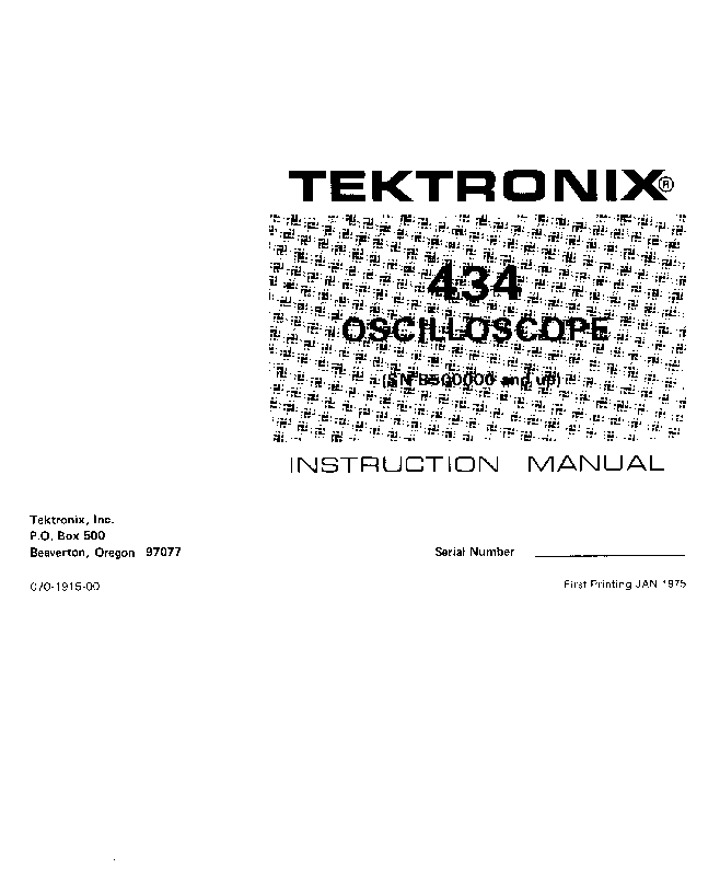 TEKTRONIX 434 OSCILLOSCOPE INSTRUCTION SCH Service Manual