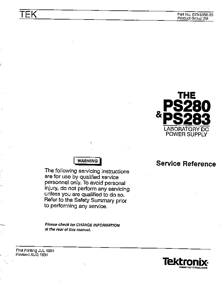 TEKTRONIX PS280 PS283 DC-POWER-SUPPLY SM Service Manual